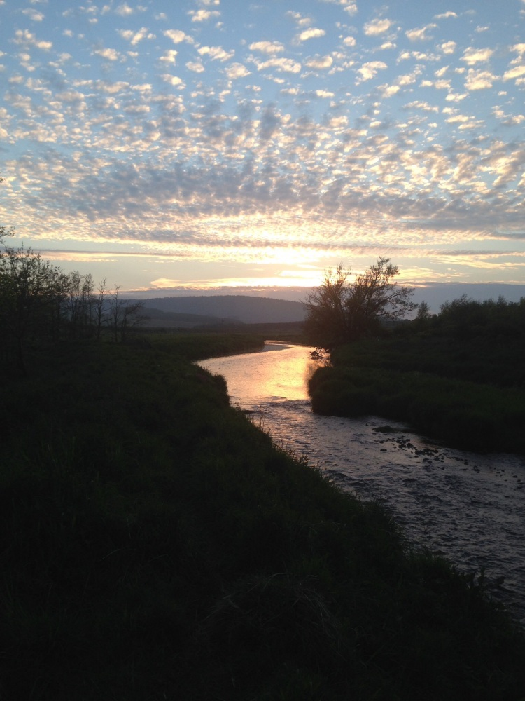 June Sunset, looking West upstream on the River Isla, Aberdeenshire