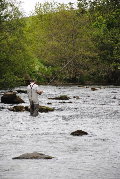 Phil exploring upstream on the River Deveron in search of Aberdeen Brownies